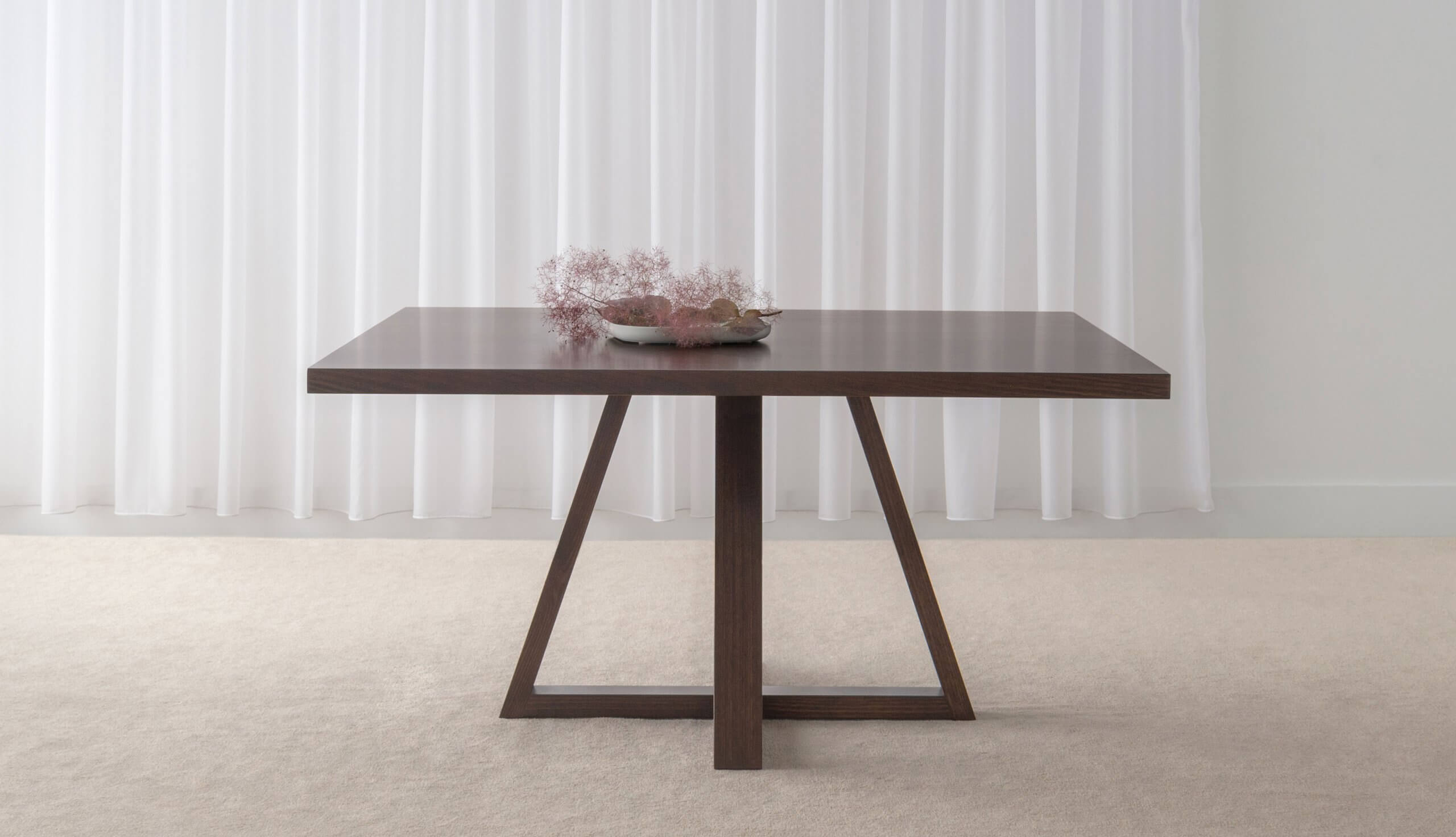 contemporary square dining table with trestle base and straight edges made in adelaide