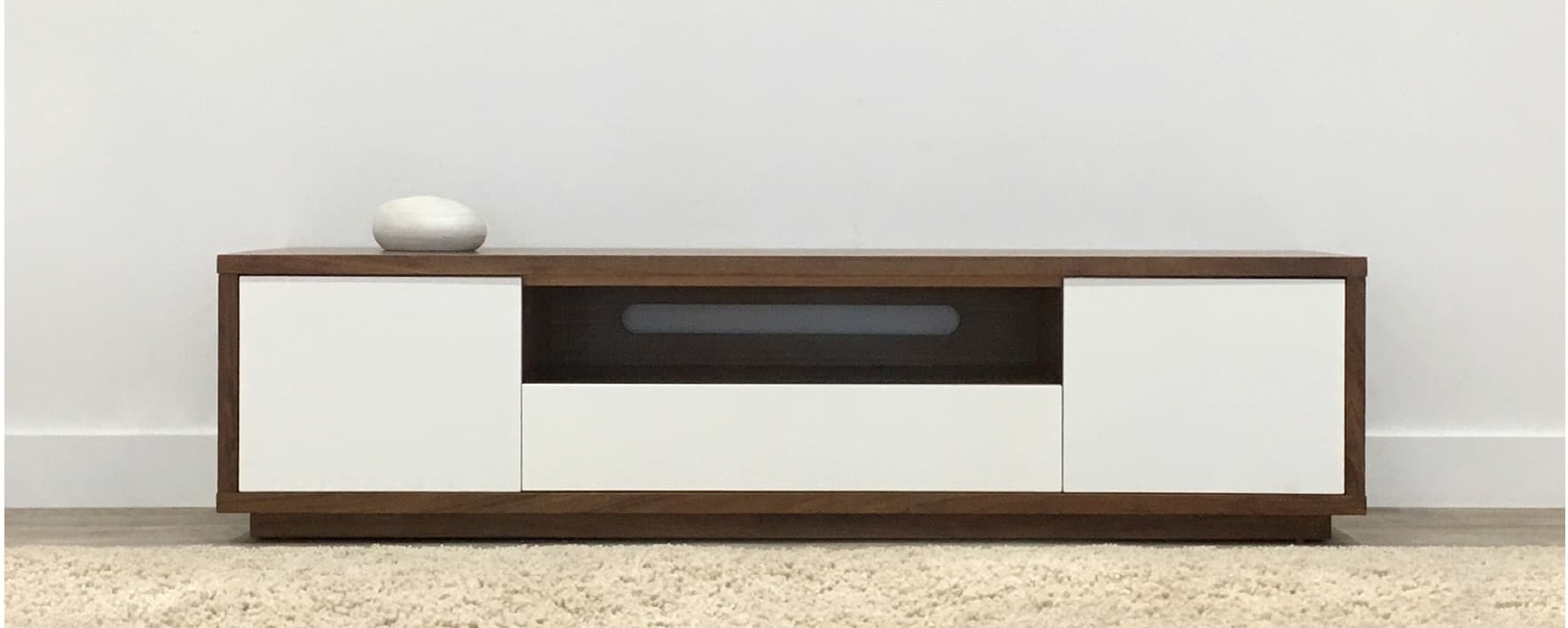 modern tv cabinet with open shelf and white drawers