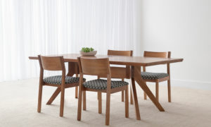 Scandinavian dining suite with timber chairs and pattern fabric seats, in tasmanian blackwood and flared table legs plus beveled edge table top, 6 seater