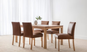 modern brown leather chairs with mountain ash dining table on wide square leg