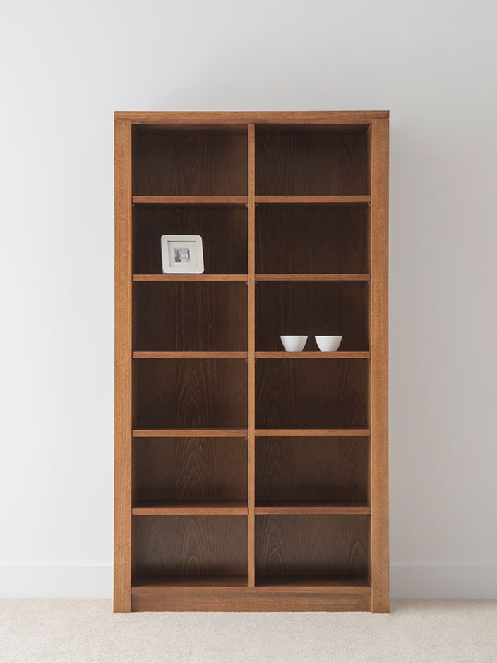 modern design chocolate tone bookcase with 10 shelves on solid base and side panels