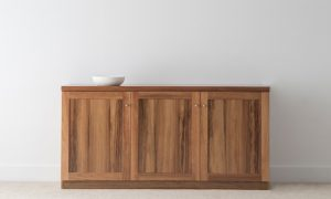 3 door buffet with flat ends in solid timber with small chrome handles