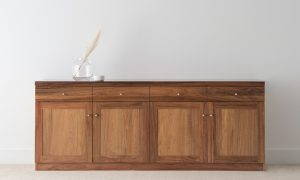 solid timber sideboard with 4 doors and 4 drawers, square modern design with chrome handles
