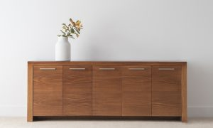 5 door buffet with chocolate timber and long silver handles
