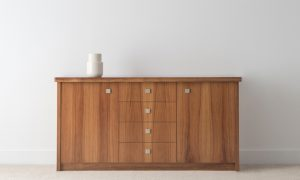 tall buffet sideboard with 4 drawers and 2 doors in tasmanian blackwood timber on full base with silver square handles