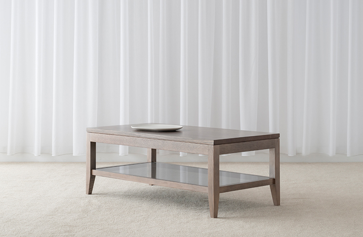 thin square contemporary design grey colour timber coffee table with 4 legs and glass shelf below