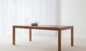 traditional rectangular timber dining table with four legs