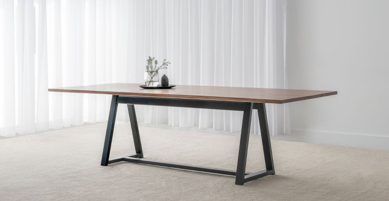 Modern Dining Table With Trestle Black Base