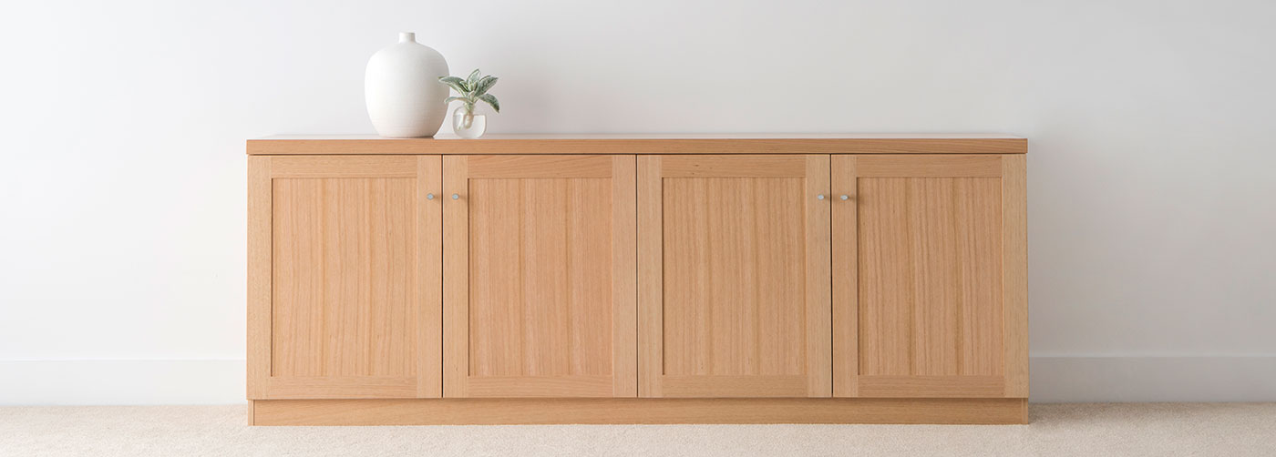4 door square edge sideboard with recessed panel doors and chrome handles