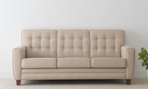 3 seater elegant hampton style sofa with button detail and solid arm on low timber leg