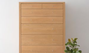 modern american oak tallboy with square corners and chrome handles