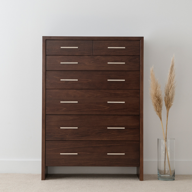 chocolate timber square tallboy with long chrome handles and solid side panels