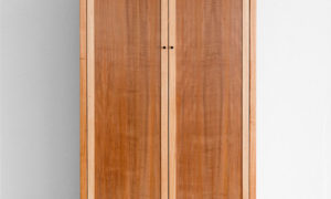 classic style two tone timber freestanding wardrobe with bottom drawer and double doors