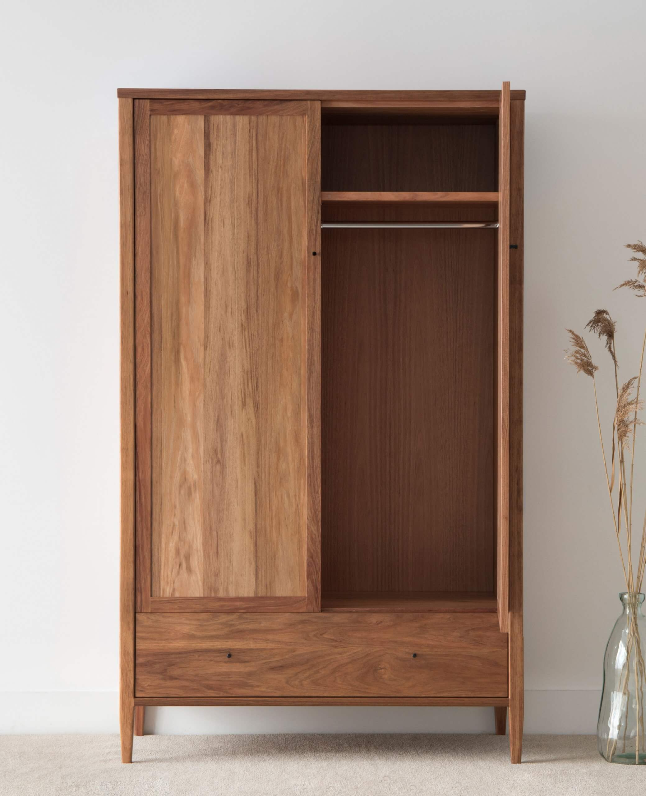 free standing wardrobe design with doors and drawers