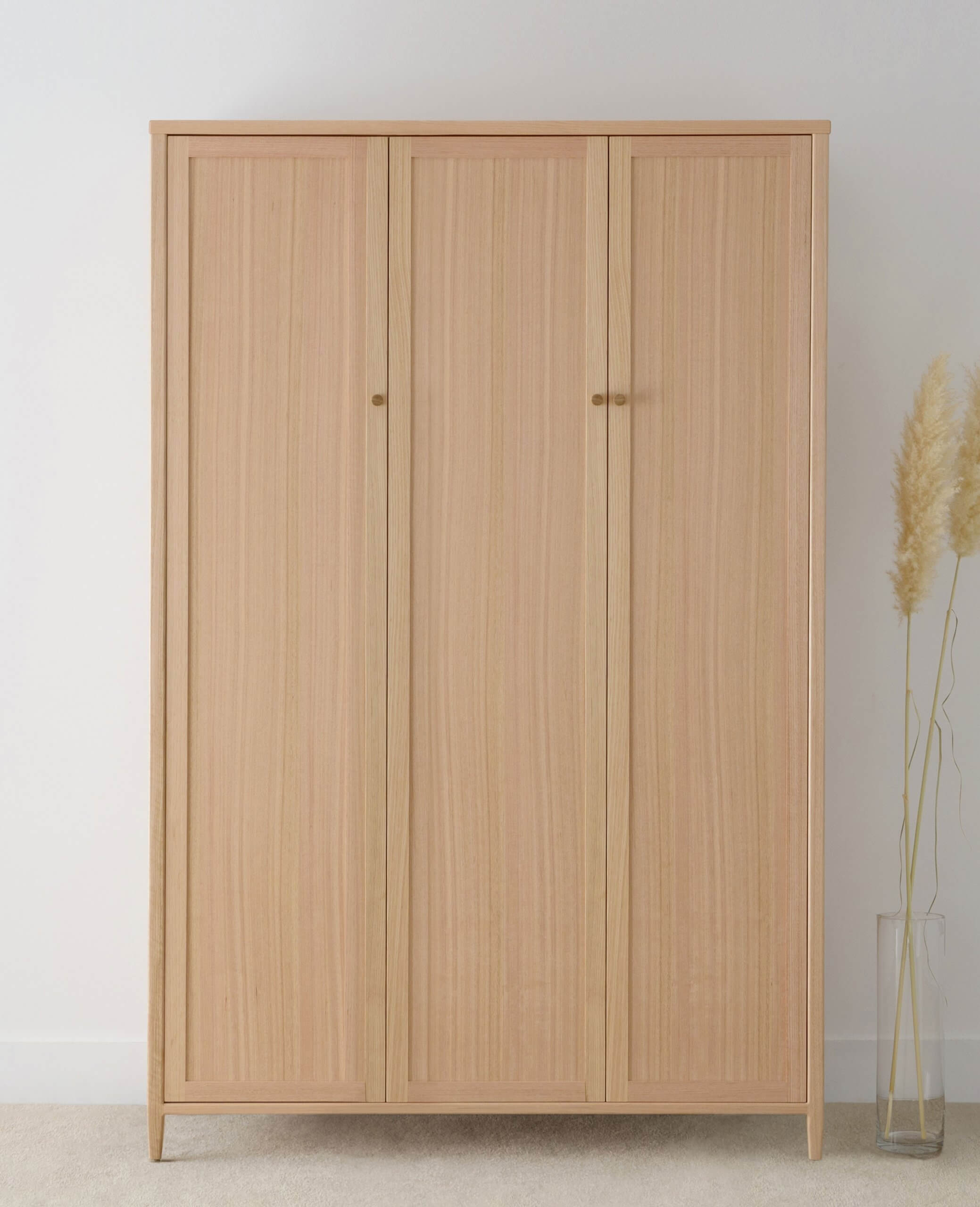 large free standing wardrobe design with 3 doors and internal shelves