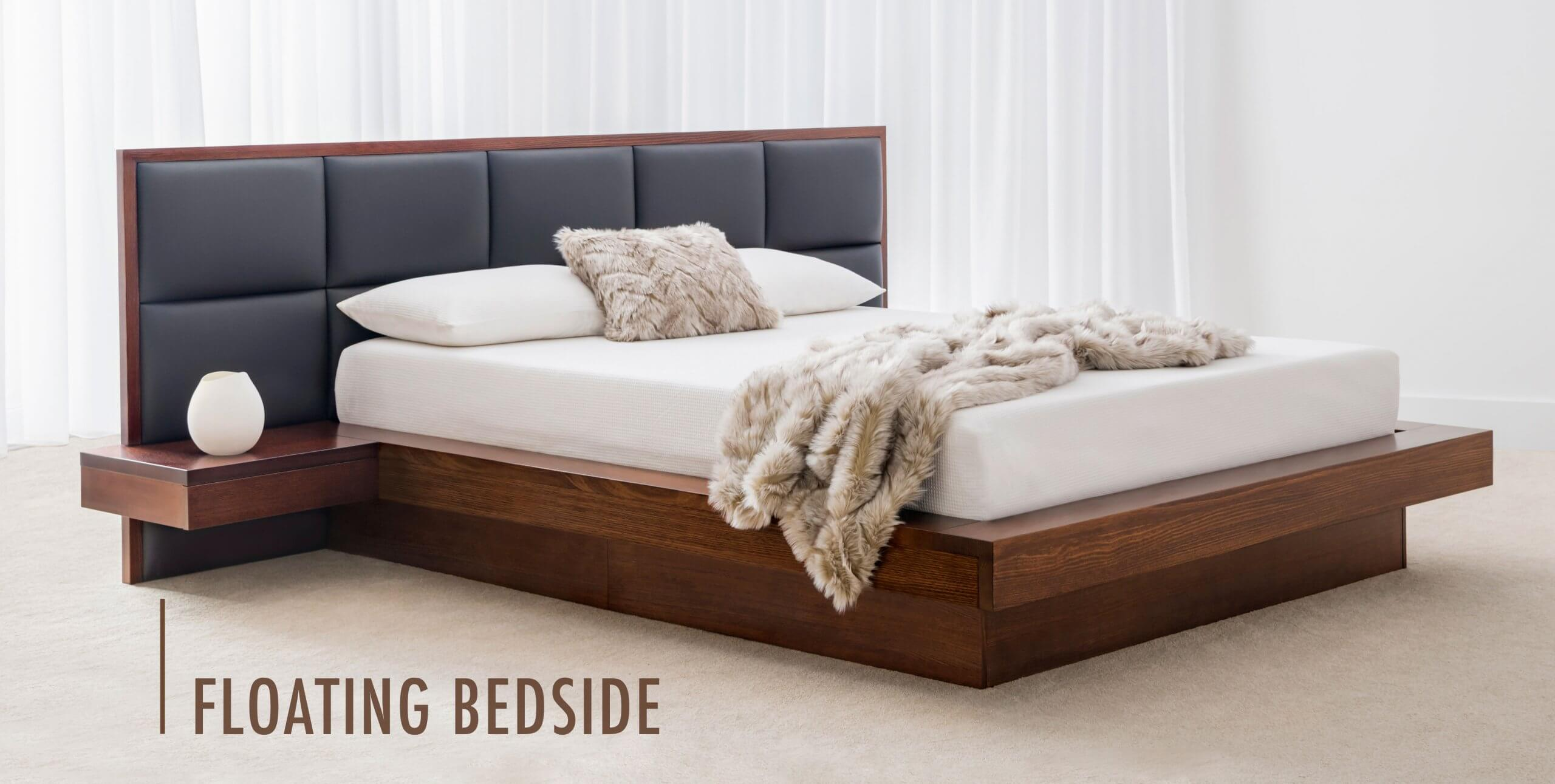 floating bedside tables attached to bed frame