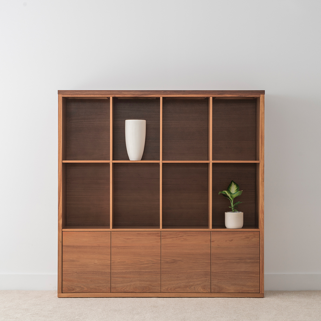 simple office storage with open shelves and flush bottom doors locally made in tasmanian blackwood timber