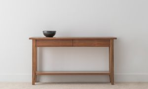 Tasmanian blackwood hallway table with tapered legs 2 drawers and bottom shelf