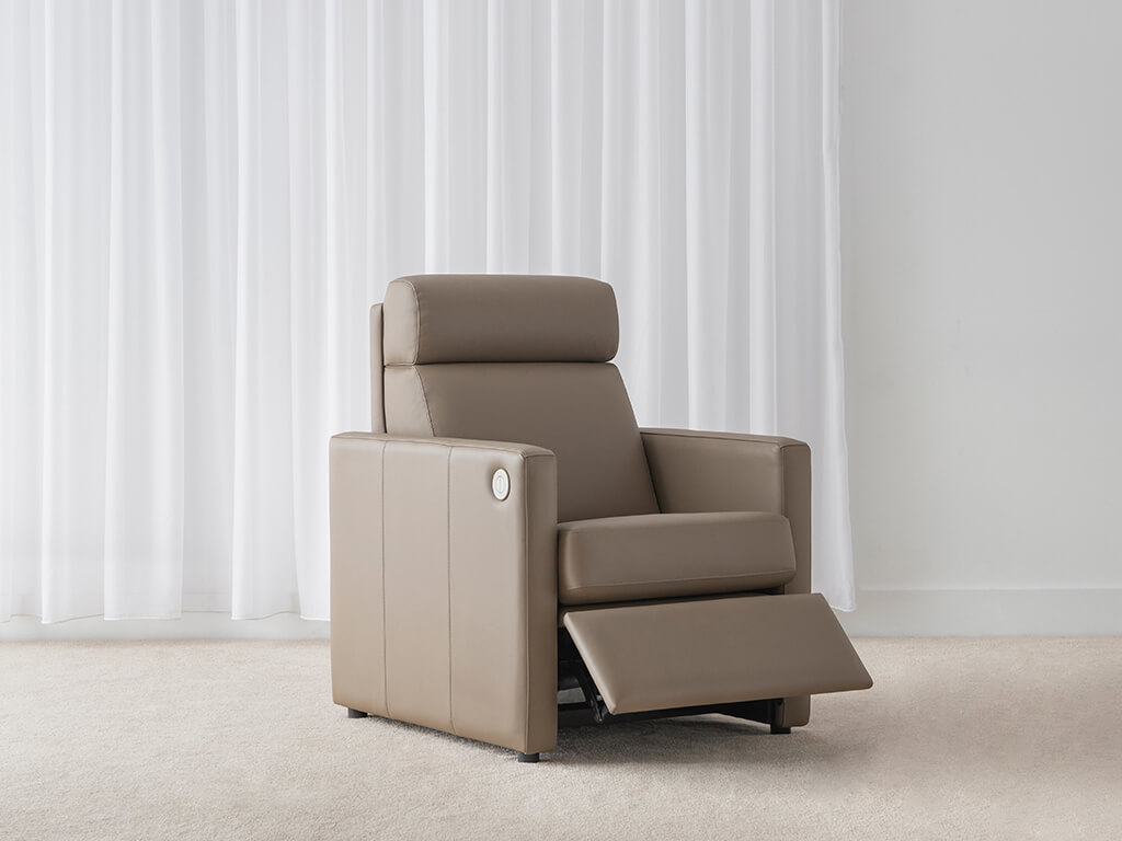 electric cordless taupe leather recliner with thin arm rest and head roll support