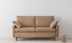 2 seater suede fabric sofa on leg with arm cushions