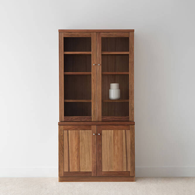 square narrow display cabinet crafted in blackwood timber with 2 timber doors and 2 glass doors on a full base