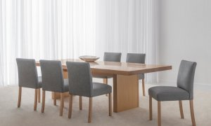 modern spacious dining setting in mountain ash timber with fabric upholstered chairs