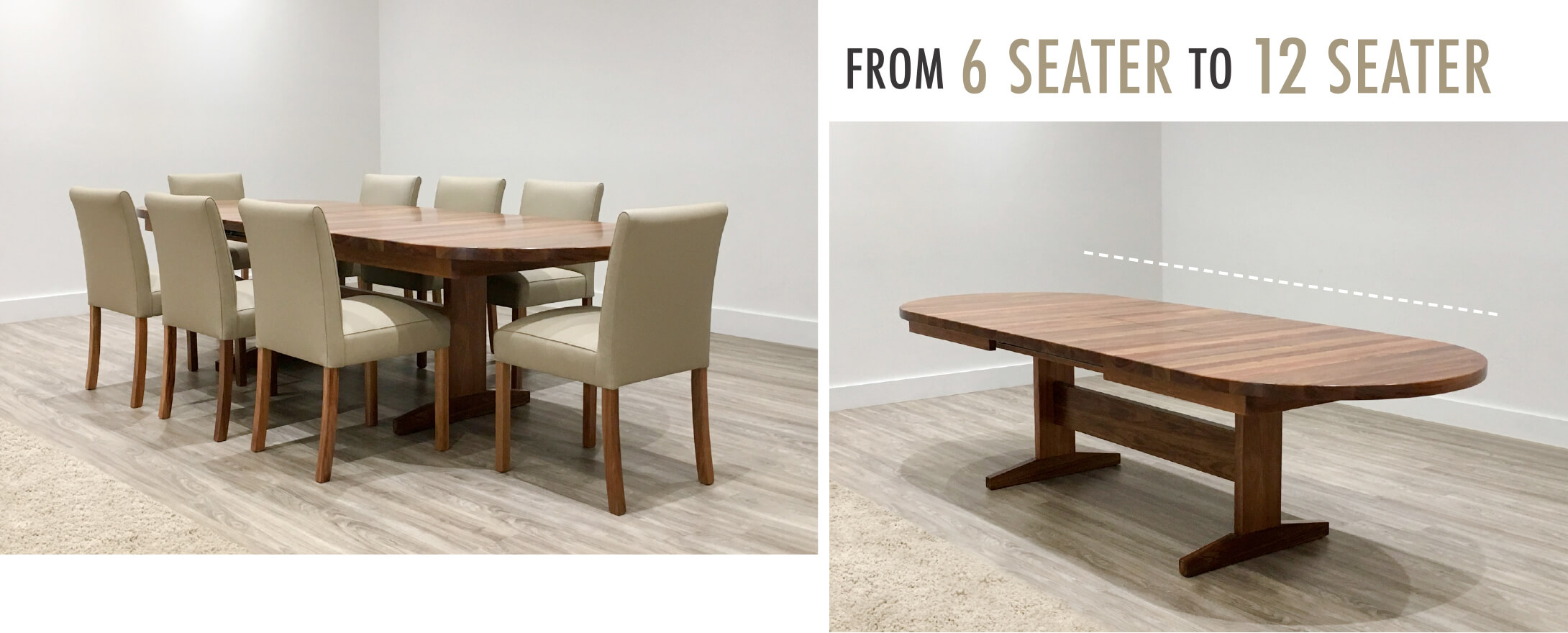 6 seater to 12 seater extendable dining table