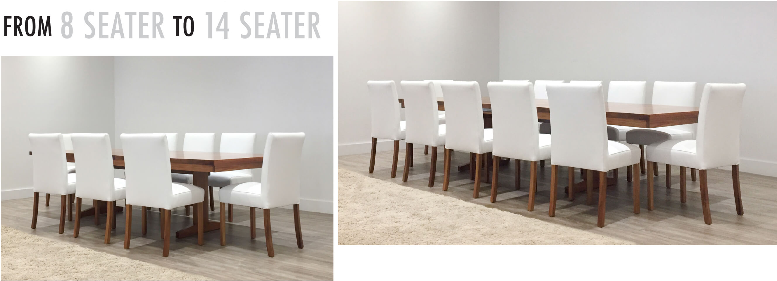 8 seater to 14 seater extendable dining table