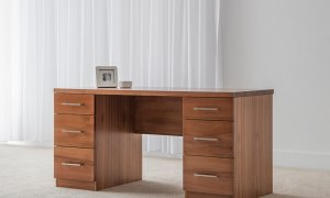 Jarrah office desk with 6 storage drawers and chair space with flush side panels and chrome handles