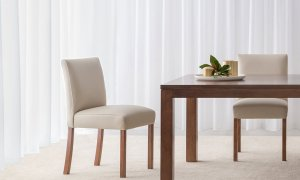 modern design light leather fully upholstered dining chair with dark timber leg