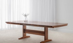 tasmanian blackwood extension table with pedestal base and curved table top