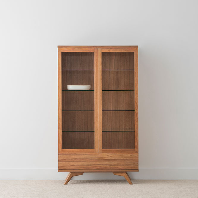 Scandinavian design display cabinet with angled legs and 2 glass doors made in tasmanian blackwood