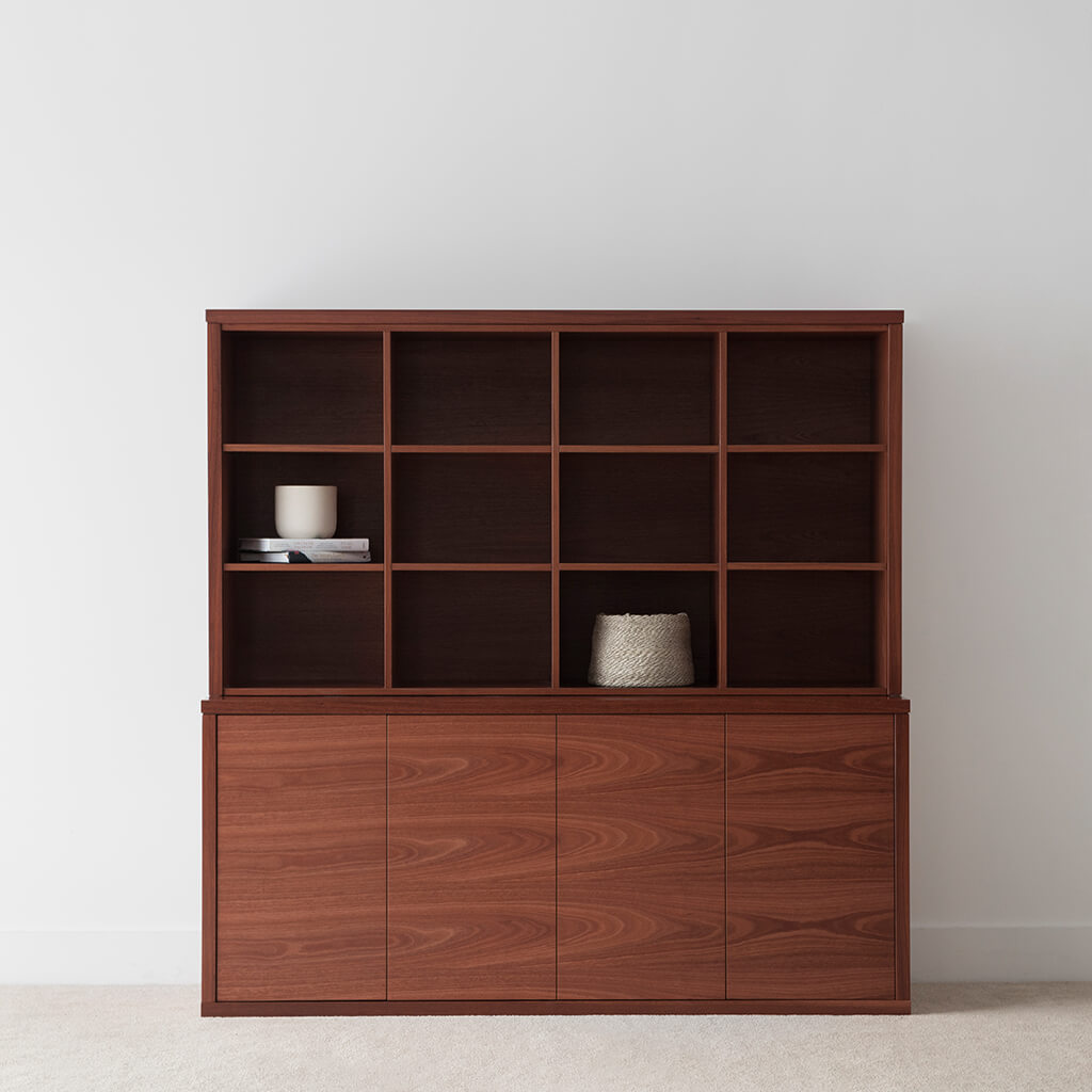 jarrah office storage cabinet with open shelving and large push to open doors custom built
