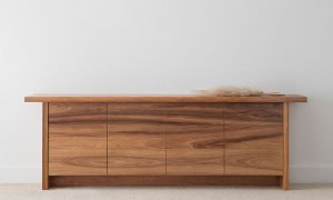 2.4 metre contemporary sideboard with thin overhang and push to open drawers and set back full base