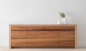 modern buffet storage in hardwood timber with character grain detail and flush push to open doors