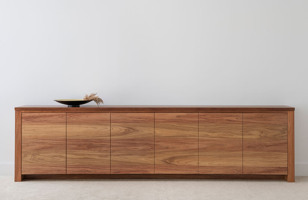3 metre buffet cabinet with 6 doors and internal shelves in tasmanian blackwood timber with full base and no handles