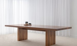 large modern dining table with panel base feature locally crafted in tasmanian blackwood timber
