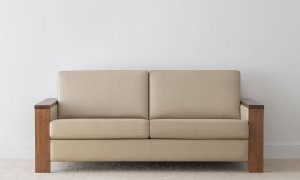 2.5 seater taupe leather lounge with timber arms and simple design