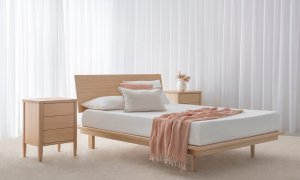 contemporary designer bedroom suite made in mountain ash timber with thin headboard and no end