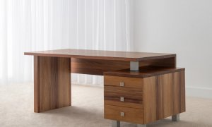 full grain office desk with modern chrome features and 3 storage drawers and slim table top