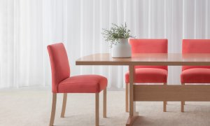 bright low back dining chairs upholstered in melon fabric with wide seats and mountain ash legs