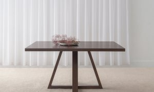 slim line 1.5 square dining table with crossed legs in chocolate tone