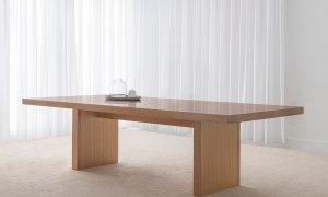 Mountain Ash timber dining table with solid panel ends and solid top