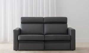 black leather lounge with head roll and full base with high back support made in adelaide