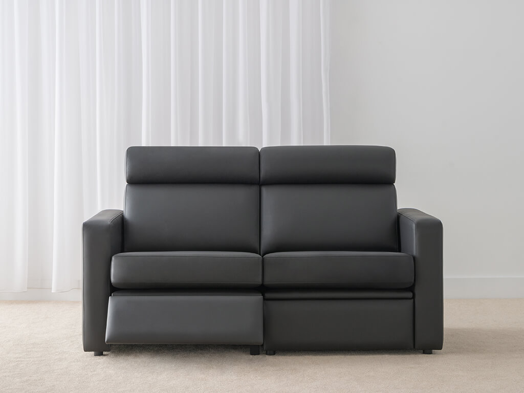 black leather 2.5 seater twin recliner lounge in modern shape with arm rest and head roll