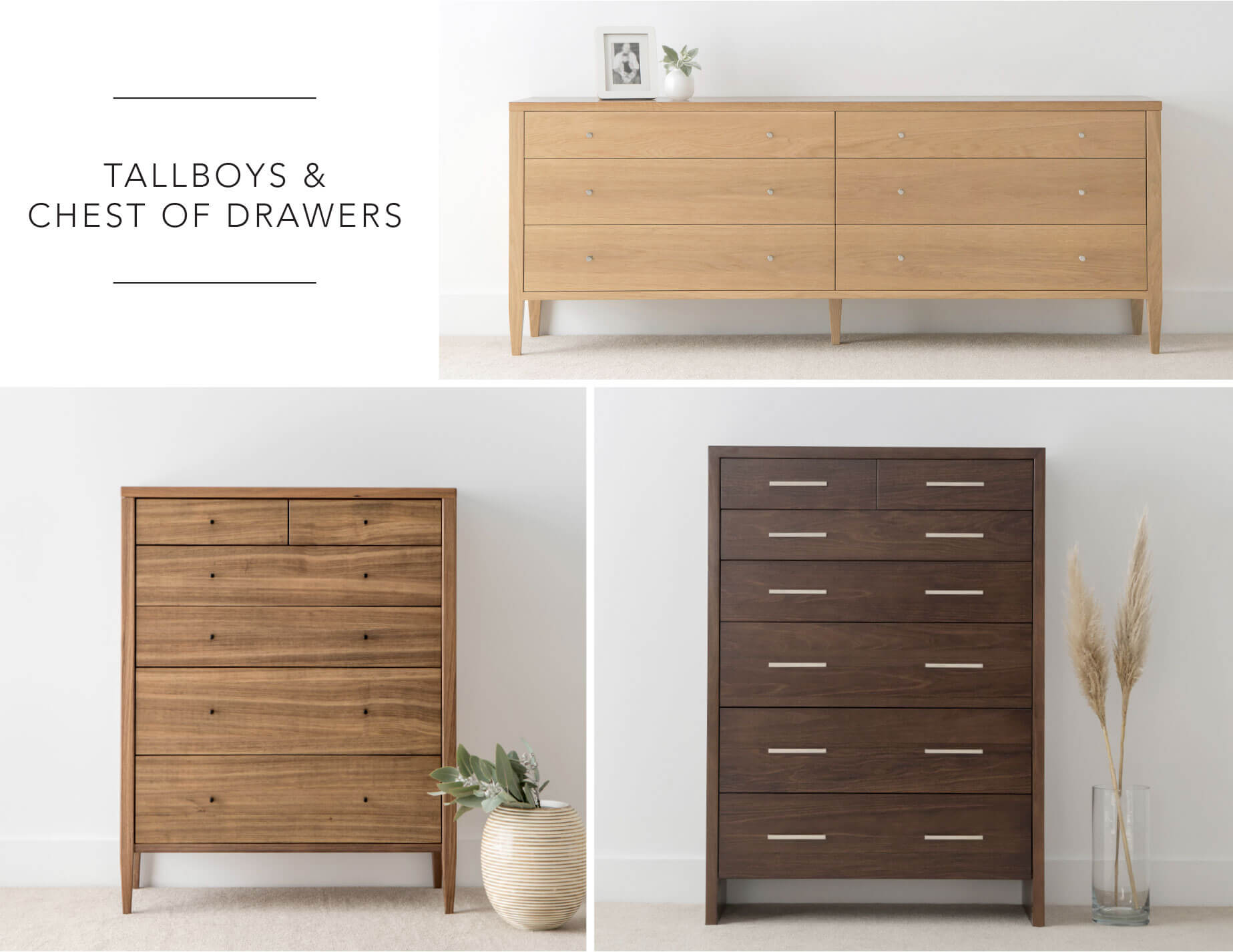 contemporary bedroom storage options in various hardwood timbers