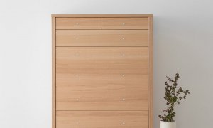 modern design tallboy made in mountain ash timber on slim leg with chrome handles