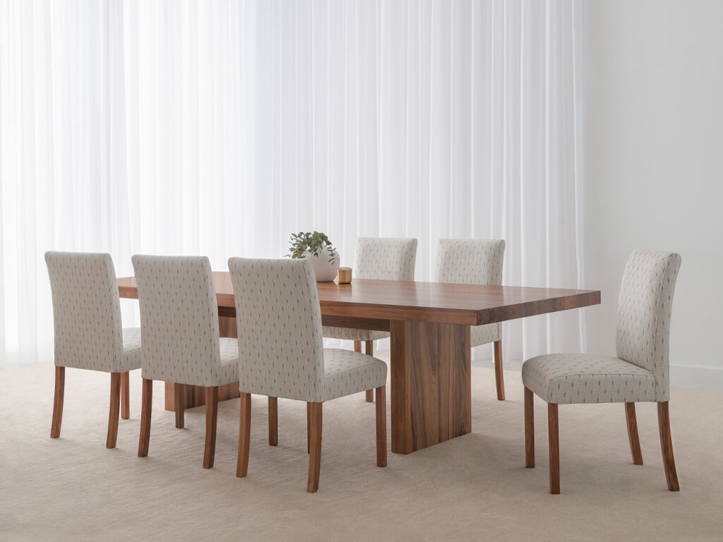 designer dining chairs with solid timber dining table manufactured in Adelaide