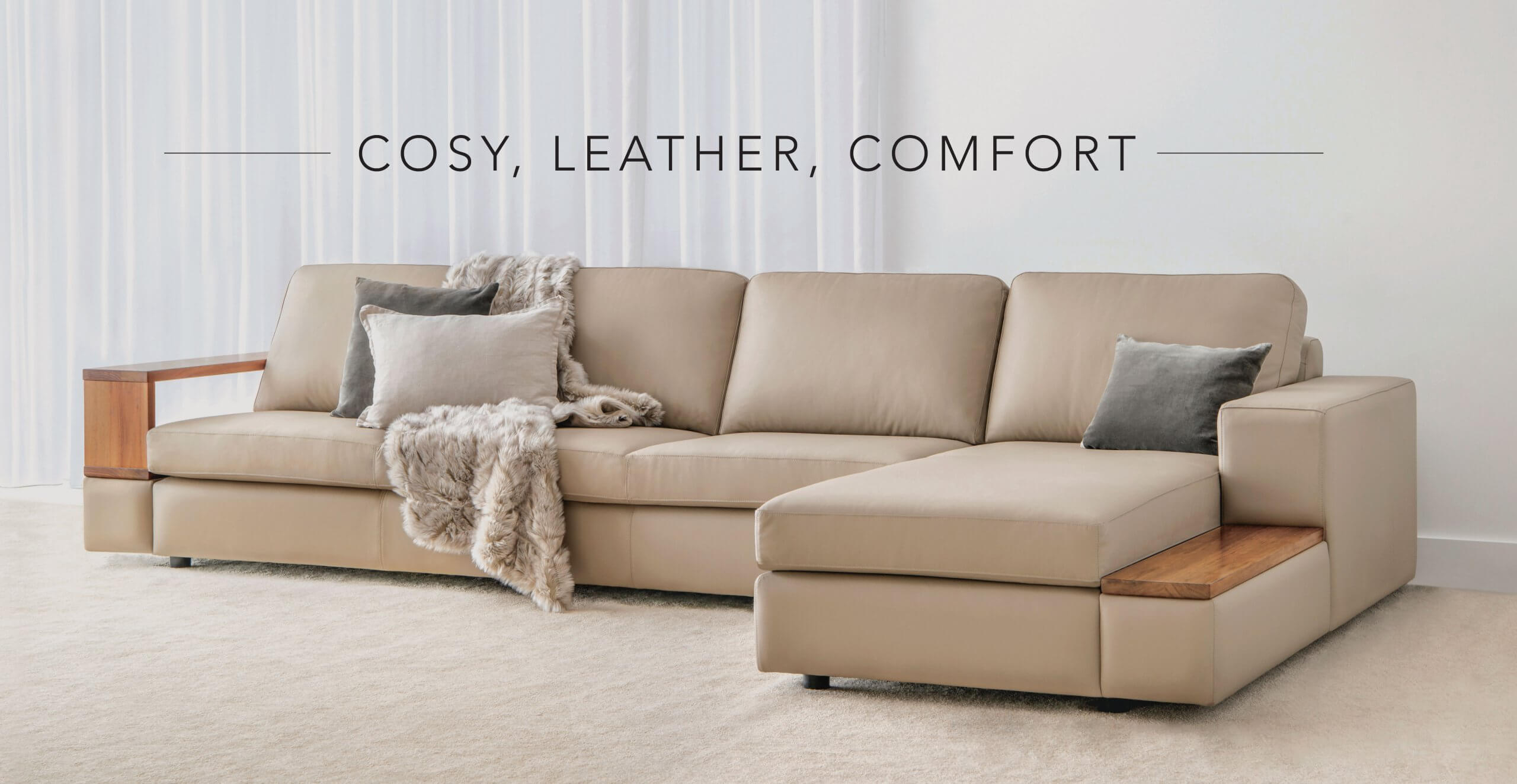 comfortable leather modular with timber features