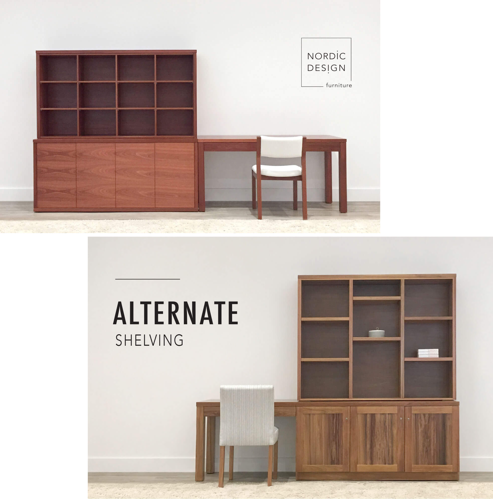large custom work and storage units locally crafted from solid timbers for home office